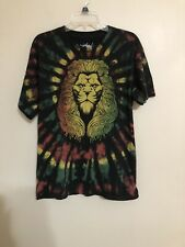 Dom it's about the art Lion Tye Dye Rastafarian Graphic print T shirt Top size L