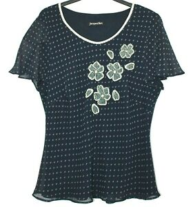 Jacques Vert Top Lined Chiffon Navy Lemon Embroidered Scoop Neck Blouse 18