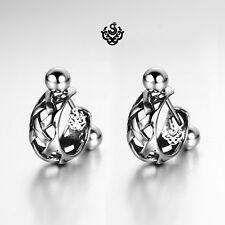 Silver stud Filigree pattern stainless steel earrings huggies cuff screw on