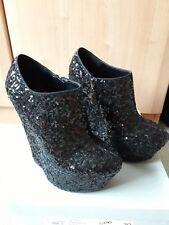 Carvela Black Sequin Shoe Boots - Size 6 - Excellent Condition