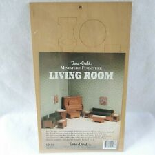 1988 Dura-Craft Wooden Miniature Dollhouse Furniture Living Room Kit