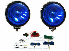 "2 X BLUE Lens, 5"" Chrome / Silver Twin Spot Lamps Lights  for Car + Wiring Kit"