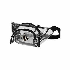 """New Orleans Saints Transport Clear Belt Bag 13""""x 5"""" Licensed Phanny Pack"""
