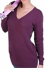 Balldiri 100% Cashmere Kaschmir Damen V Pullover 6-fädig pflaume XL