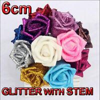 6cm Foam Roses with Glitter Powder Flower Bride Bouquet Home Wedding Party Decor