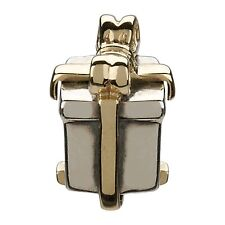 "Authentic Chamilia Element Charm 925 Silver ""Gold Ribbon Gift"" Bead KE-4"