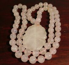 Vtg Chinese Hand Knotted Chunky Pink Jade Rose Quartz Carved Pear Bead Necklace