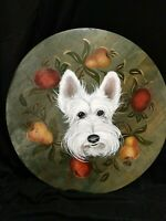 Wheaten Scottie Hand Painted Wood Lazy Susan Chalk Original Art Vintage ooak