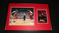 Dominique Wilkins Signed Framed 12x18 Photo Display vs Larry Bird Hawks