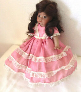 Vintage black ooak baby doll in orig. clothes bisque artist signed dated 1975