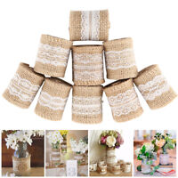 9PC Trims Tape Rustic Wedding Party Natural Jute Burlap Hessian Ribbon with Lace