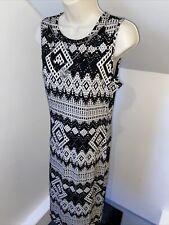 Tamaño del concurso 12 14 blanco azteca impresión estiramiento vestido largo Boho collar adjunto Boho