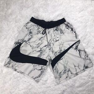 Nike Mens Dri Fit HBR Basketball Shorts Size 2XL XXL White Marble Swoosh Loose