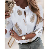 Women Pineapple Print Button Down Shirt Ladies Long Sleeve Casual Blouse Tops