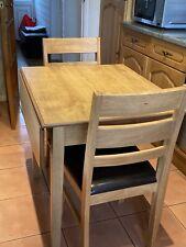 Warm Oak Drop Leaf Table & 2 Chairs - Excellent Condition