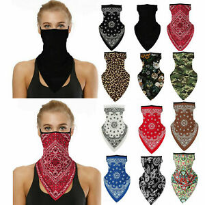 Unisex Bandana Fabric Face Covering Mask Washable Balaclava Earloops Scarf Lot
