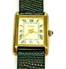 Authentic Vintage Cartier 18K Gold Electroplated Manual Wind Tank Watch