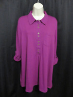 NWOT Soft Surroundings Magenta Pink Knit Tunic Top L Large Pocket