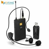 FIFINE Wireless Lavalier Microphone for PC Mac with USB Receiver Free Your