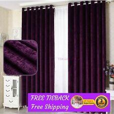 Purple Fabric Bedroom Door Curtain Design Drapes+Sheer Eyelets Rod Pocket Panels