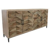 """76"""" W Triangle Sideboard Solid Reclaimed Elm Triangle Detail Doors Modern"""