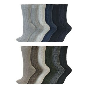 Ladies 3/6 Pairs Soft Acrylic SHORT Thermal Boot Socks UK 4-8 LIGHT/DARK ASST