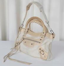 BALENCIAGA Cream Ivory FIRST Pony Hair Leather Satchel Tote Handbag Shoulder Bag