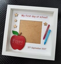 Personalised My First Day at School Nursery Pre Box Photo Frame Crayon Gift 1st