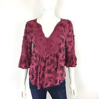 Maurices Womens Top Blouse Sz S Pink Floral Boho Peasant Crochet Ruffle Sleeve