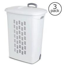 Portable Laundry Hamper (3-Pack) Clothes Basket Storage Bin w/ Extendable Handle