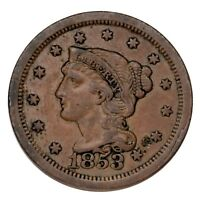 1853 Braided Hair Large Cent 1C Penny (Extra Fine, XF Condition)