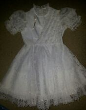 allison ann flower girl white lacey dress size 6 7 ruffles pearls wedding