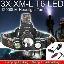 12000lm Lumen 3x XML T6 LED Rechargeable Head Torch Headlamp Ultra Bright Light