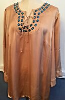 2X Hot In Hollywood Satin Beaded Turquoise and Tan Tunic New NWT