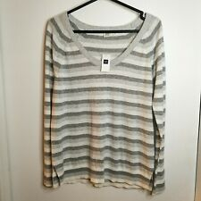 GAP Women's Jumper Sweater GAP FOR GOOD 100% Cotton White Grey Stripe SZ M BNWT