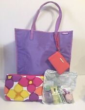 New Clinique Lavender Handbag With Coin Purse Makeup Bag & Travel Sized Samples