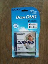 Sony x 3 DVD - RW 8cm 30min 1.4GB Discs For Video Camera