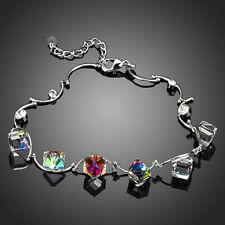 Elegante Moda Brillante Varios Colores cubo de cristal austriaco pulsera con dijes Brazalete