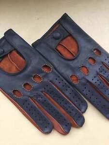 Driving Handmade Gloves Italian Genuine Leather Brown & Blue
