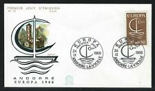 1966 Andorra Scott #172 First Day Cover - 60c Europa Stamp