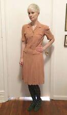 Vintage 1930s 1940s Salmon Pink Rayon Crepe Dress