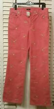 NWT, J.Crew Women's  Pink Corduroy Bootcut Pants W/ Embroidered Shoes Size 8