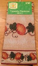"""Thanksgiving/Fall Pumpkin Tapestry Placemats- Set Of Two 13"""" X 18"""" Mats"""