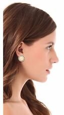 HOUSE OF HARLOW Sunburst Button Stud Earrings, Goldtone CREAM Leather w Pave