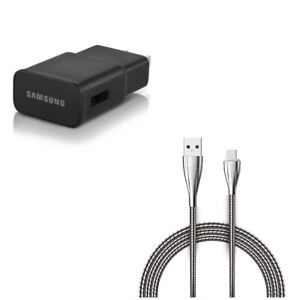 Type-C 6ft Metal USB Cable w Adaptive Fast Home Charger for Phones & Tablets