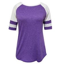 Mujeres de Moda Manga Corta Empalme de la Blusa Tops Camiseta Casual Suelto