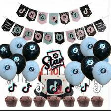 54 pc set tik tok party supplies balloons cupcake cake banner