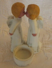 "Kissing Angels Resin Tea Light Candle Holder Figurine 5"" Tall 3"" Wide"