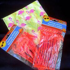 "Pink Flamingo 12"" Paper Napkins & Plastic Cocktail Stirrer Swizzle Sticks 20 ea"