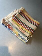 Vintage cotton Rayon mix striped tea towels Small Table Cloth x 7
